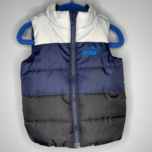 Puma grey navy black colour block embroidered logo poly filled zip puffer vest 2